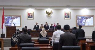Penyampaian laporan reses anggota Dewan pada rapat paripurna DPRD Kabupaten Bekasi masa sidang I Tahun 2020, Selasa (25/02)